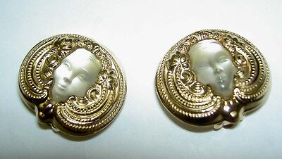 Extremely Rare LALIQUE France Psyche Crystal Goldtone Clip on Earrings