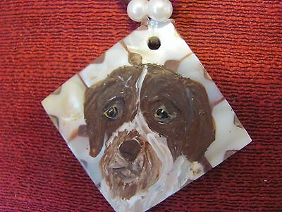 German Wirehaired Pointer hand painted on square inlaid Mother of Pearl pendant/
