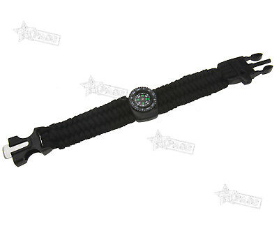 Paracord Survival Bracelet Flint Fire Starter With Compass Whistle Outdoor Wrist