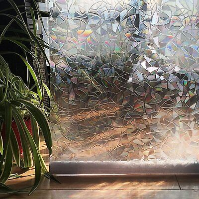 3D StaticPrivacy Window Films No-Glue Decorative Frosted UV Block 35.4 X 78.7In