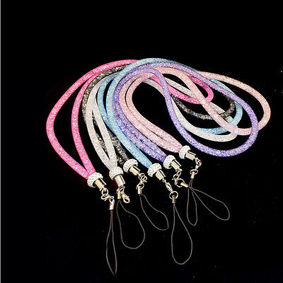 New Crystal Lanyard Necklace ID Badge Mobile Phone Keychain Glitter Cord Strap