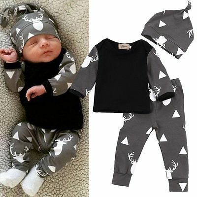 Baby Girl Boy Clothes Long Sleeve Top T-shirt+Pants Leggings Outfits Set 0-2T AU