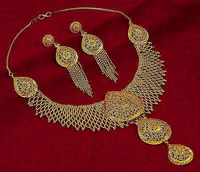 18K Goldplated Ethnic 2PC Necklace Earring Set Traditional New Jewelry-BNG478A