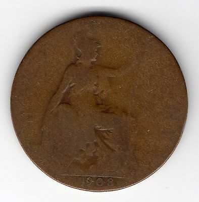 Great Britain Edward VII Half Penny 1/2d 1908 nice coin R36206