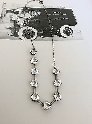 "VTG ANTIQUE EDWARDIAN 22ct OLD CUT DIAMOND PASTE STERLING SILVER NECKLACE 16"" 7g"