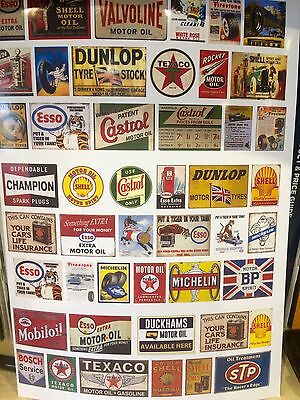 1/18 diorama Retro Oil Logo And Advertising garage posters 0041