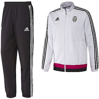 adidas JUVENTUS FC FULL PRESENTATION TRACK SUIT WHITE FOOTBALL ACTIVE GYM BLACK