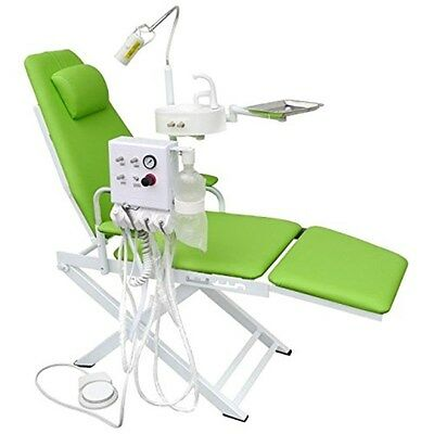 Dental Portable Chair Unit with LED Lamp + Turbine Unit 4H + Waste Basin Green
