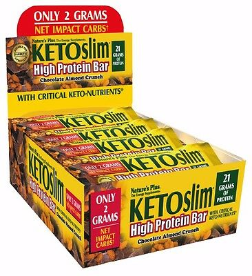 Natures Plus KETO Bar, High Protein, Chocolate Almond Crunch , 12 bars