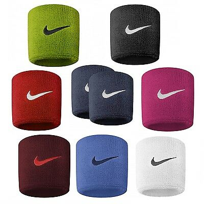 Nike Wristbands Swoosh Sports Sweat Stretch Set Of 2 Tennis Football Official