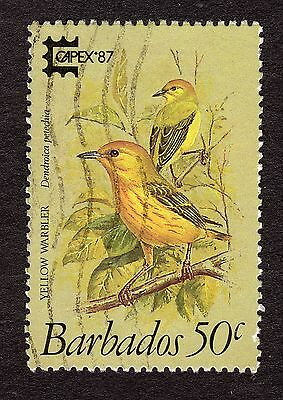 1987 Barbados 50c Yellow Warbler Capex 87 SG 837 FINE USED R31924
