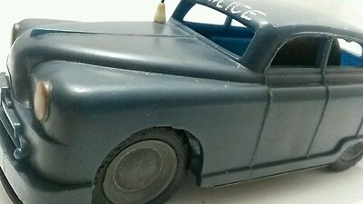 VINTAGE POLICE TOY CAR FRICTION VEHICLE E Flim Lemez Foreign METAL AND PLASTIC