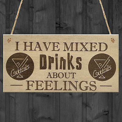 FUNNY MAN CAVE / Alcohol Wine Friendship Gift Hanging Plaque Home Bar Pub Sign