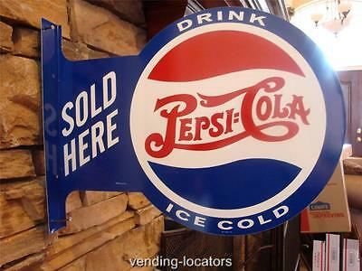 Drink Ice Cold Pepsi Cola Sold Here Double 2 Sided Pub Metal Tin Flange Sign New