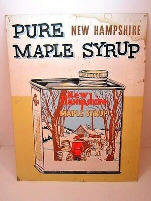 Vintage Pure New Hampshire Maple Syrup Cardboard Sign Nice Graphics Syrup Can