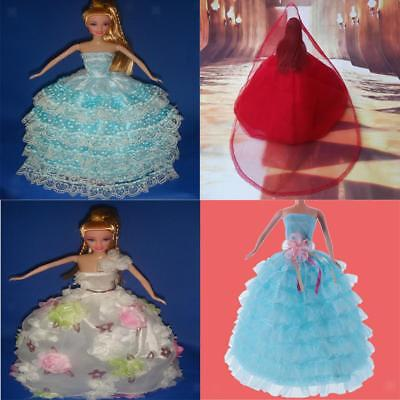 4Pcs Bridal Wedding Outfit Clothes Dress for Barbie Dolls Pretty Xmas Gifts