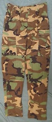 Genuine Us Army M81 Woodland Camouflage Ripstop Combat Trousers. Medium-Long.