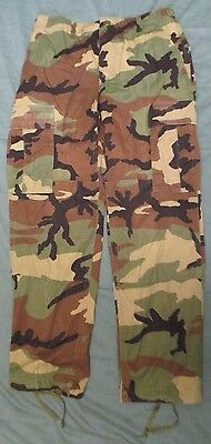 Genuine Us Army M81 Woodland Camouflage Ripstop Combat Trousers. Small-Short.