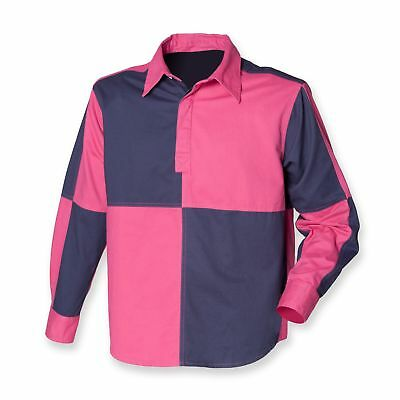 Mens Gents Long Sleeve Front Row Quartered Drill Rugby Shirt FR51