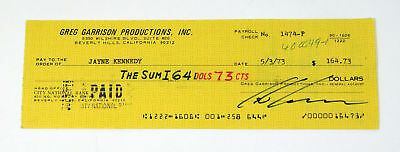Jayne Kennedy Signed Check Actress Auto