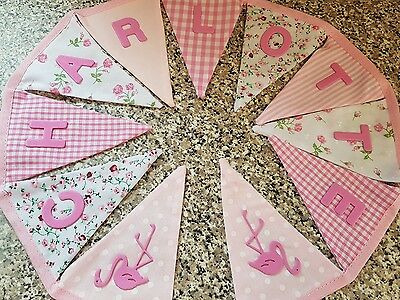 PERSONALISED BUNTING FREE P/&P PINK /& GREY /& GLITTER BALLERINAS £1 PER FLAG