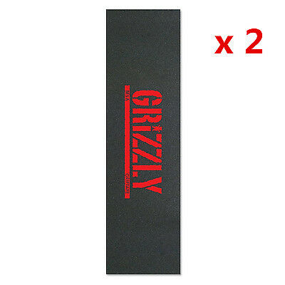 """2 Pcs Grizzly Red Stamp Print  Skateboard Tape Sheet Grip Tape 9 x 33"""""""