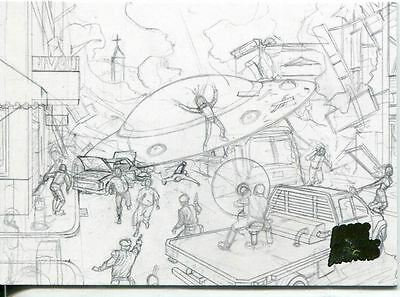 Mars Attacks Invasion Pencil Concept Art Parallel Base Card #11