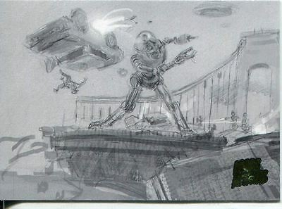Mars Attacks Invasion Pencil Concept Art Parallel Base Card #20