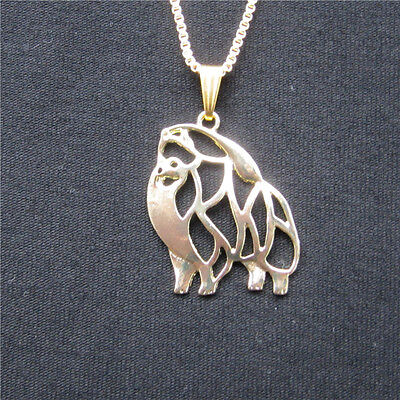 Pomeranian Dog Pendant Necklace Gold Plated ANIMAL RESCUE DONATION
