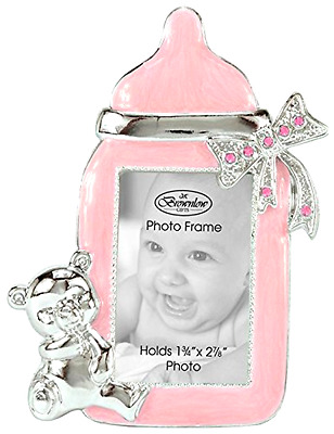 Baby Girl Bottle Shaped Photo Frame Lead Free Pink With Silver Bear/Bow Accents