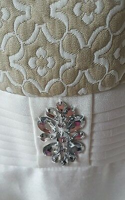 16-18 Mother of Bride Dress & Jacket Ivory Gold White Matching Suit New Wedding