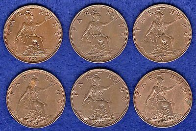 Great Britain, George V, Farthings, 1929-34, 6 Coins, High Grade (Ref. t0250)