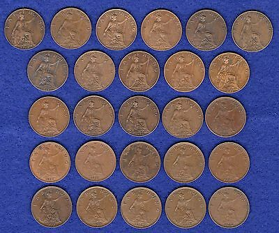 GB, Farthings, George V, 1911 to 1936, Complete Date Run, 26 Coins (Ref. t0627)
