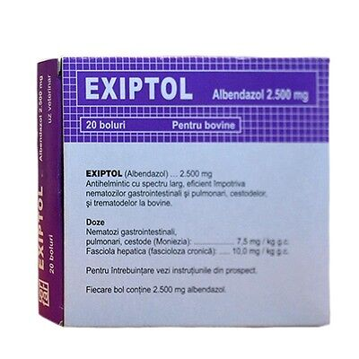 Albendazole 2500mg  Exiptol Wormer Dewormer Cattle  20 Tablets/ Bolus