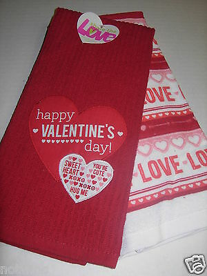 2Pc Set Happy Valentine's Day Holiday Kitchen Towels Red Hearts LOVE Sweet Heart
