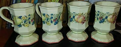 """LOT4: Avon """"Sweet Country Harvest"""" Footed Octagon Shape Coffee/Tea Mugs!"""