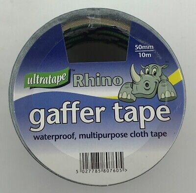 Rhino Ultratape Rhino Black 50mm x 10m Cloth Tape Gaffer Duck Duct Waterproof