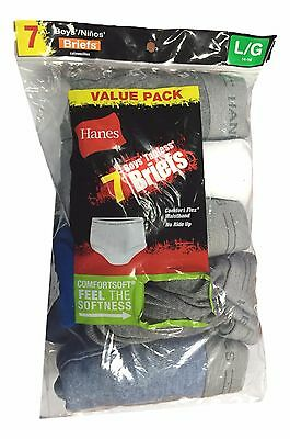 7 Pair Hanes Boys Size Large (14 - 16) Comfort Flex Waist 100% Cotton Briefs NEW