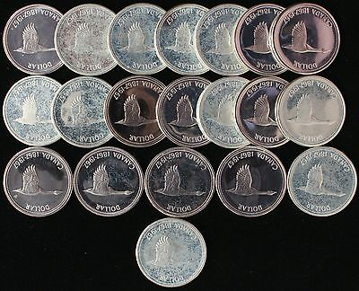 1967 Canada Goose Dollar $1 Coin Proof-Like Bu Full Roll 20 Coins 80% Silver