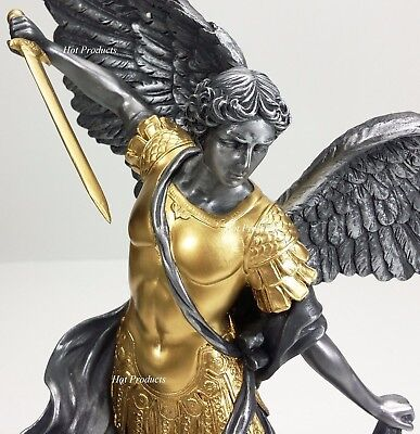 "14.5"" ST MICHAEL ARCHANGEL TRAMPLES DEMON Statue Silver & Gold Finish Sculpture"