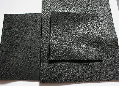 "Soft Black leather hide pebble grain 2.5mm thick pieces various sizes 23""x23"""