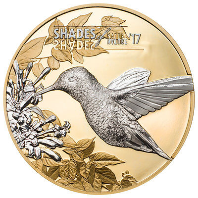 2017 Cook Islands Shades Nature Hummingbird Gilt Silver Proof OGP SKU47300