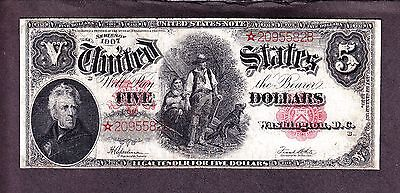 US 1907 $5 Wood Chopper Legal Tender STAR NOTE FR 91* F-VF (-582*)