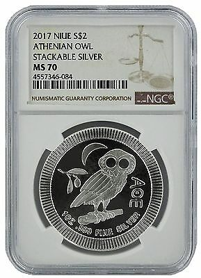 2017 Niue 1oz Silver Owl Of Athena Coin NGC MS70 - Brown Label