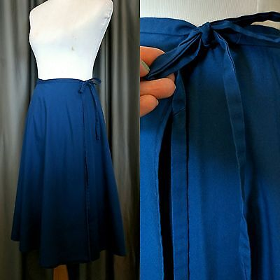One Size Fits all Wrap Skirt Navy Blue Vintage Handmade M High Waist Wrap Around