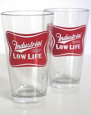 Industrial Ride Shop Skateboard Low Life Miller High Life Parody Pint Glass Set