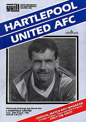1988/89 Hartlepool United v Sheffield United, League Cup, PERFECT CONDITION