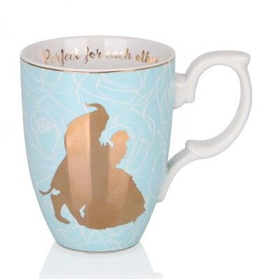 Disney Beauty And The Beast Mug Live Action Gold Blue Belle Perfect Couple