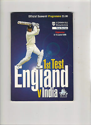 1996  5 Day Test Match Programme-----England v India
