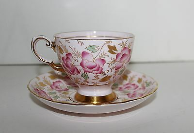 Tuscan Fine Bone China Tea Cup & Saucer Pink Gold Flowers England 9871H